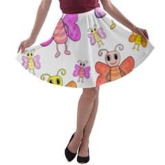 Cute Butterflies Pattern A Line Skater Skirt by Valentinaart