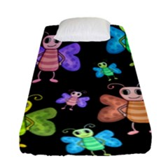 Cartoon Style Butterflies Fitted Sheet (single Size) by Valentinaart