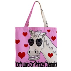 Don t Wait For Prince Charming Zipper Grocery Tote Bag by Valentinaart