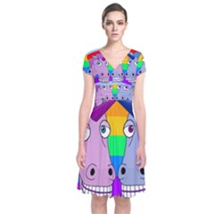 Unicorn Love Short Sleeve Front Wrap Dress
