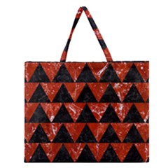 Triangle2 Black Marble & Red Marble Zipper Large Tote Bag by trendistuff