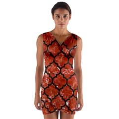 TIL1 BK-RD MARBLE (R) Wrap Front Bodycon Dress by trendistuff