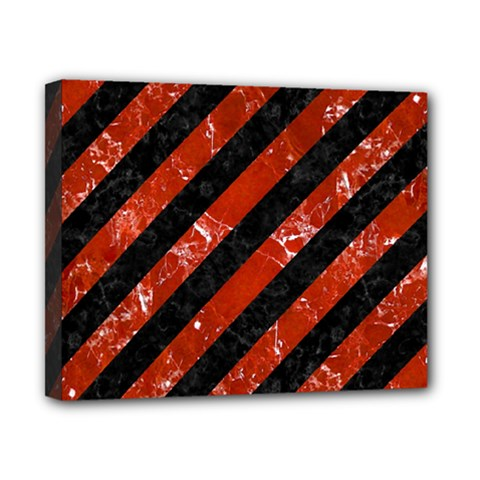 Stripes3 Black Marble & Red Marble Canvas 10  X 8  (stretched) by trendistuff