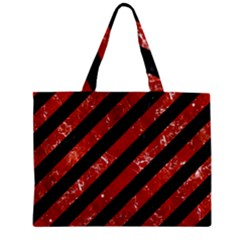 Stripes3 Black Marble & Red Marble Zipper Mini Tote Bag by trendistuff