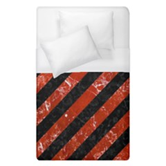 Stripes3 Black Marble & Red Marble Duvet Cover (single Size) by trendistuff