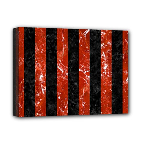 Stripes1 Black Marble & Red Marble Deluxe Canvas 16  X 12  (stretched)  by trendistuff