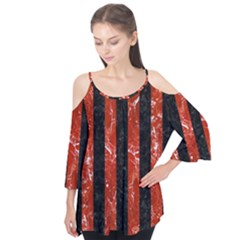 Stripes1 Black Marble & Red Marble Flutter Sleeve Tee  by trendistuff