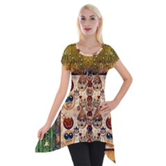 Festive Cartoons In Star Fall Short Sleeve Side Drop Tunic by pepitasart