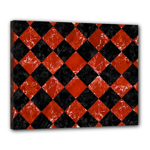 Square2 Black Marble & Red Marble Canvas 20  X 16  (stretched) by trendistuff