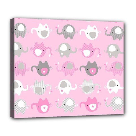 Animals Elephant Pink Cute Deluxe Canvas 24  X 20   by Jojostore