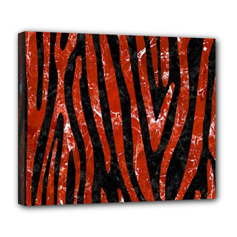 Skin4 Black Marble & Red Marble (r) Deluxe Canvas 24  X 20  (stretched) by trendistuff