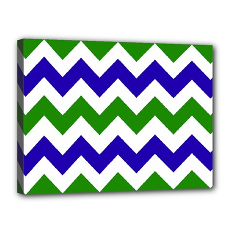 Blue And Green Chevron Pattern Canvas 16  X 12  by Jojostore
