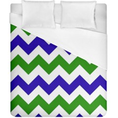 Blue And Green Chevron Pattern Duvet Cover (california King Size) by Jojostore