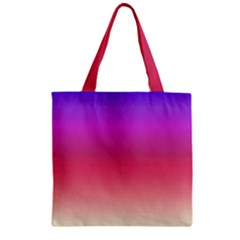Blue Pink Purple Red Zipper Grocery Tote Bag by Jojostore