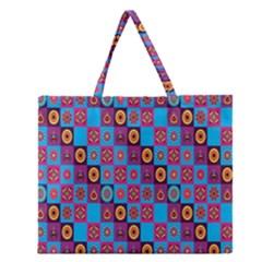 Batik Zipper Large Tote Bag by Jojostore