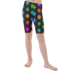 Pattern Background Colorful Design Kids  Mid Length Swim Shorts
