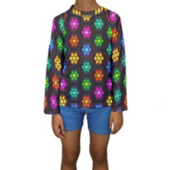 Pattern Background Colorful Design Kids  Long Sleeve Swimwear