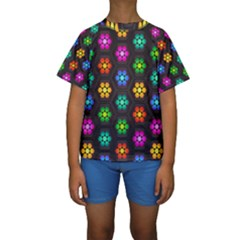 Pattern Background Colorful Design Kids  Short Sleeve Swimwear