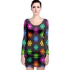 Pattern Background Colorful Design Long Sleeve Bodycon Dress