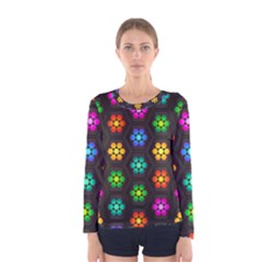 Pattern Background Colorful Design Women s Long Sleeve Tee
