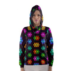 Pattern Background Colorful Design Hooded Wind Breaker (Women)