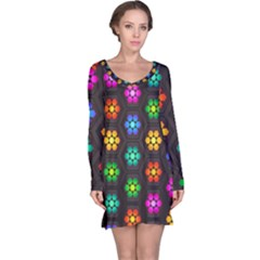 Pattern Background Colorful Design Long Sleeve Nightdress