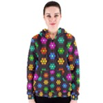 Pattern Background Colorful Design Women s Zipper Hoodie