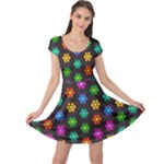 Pattern Background Colorful Design Cap Sleeve Dresses