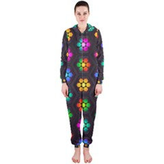 Pattern Background Colorful Design Hooded Jumpsuit (Ladies)