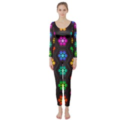 Pattern Background Colorful Design Long Sleeve Catsuit