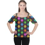 Pattern Background Colorful Design Women s Cutout Shoulder Tee