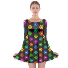 Pattern Background Colorful Design Long Sleeve Skater Dress