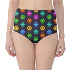 Pattern Background Colorful Design High-Waist Bikini Bottoms