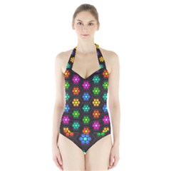 Pattern Background Colorful Design Halter Swimsuit