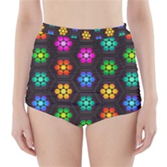 Pattern Background Colorful Design High-Waisted Bikini Bottoms
