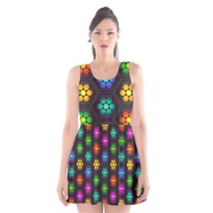 Pattern Background Colorful Design Scoop Neck Skater Dress
