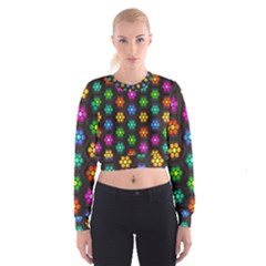 Pattern Background Colorful Design Women s Cropped Sweatshirt