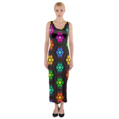 Pattern Background Colorful Design Fitted Maxi Dress