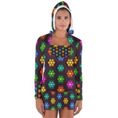 Pattern Background Colorful Design Women s Long Sleeve Hooded T-shirt