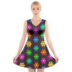 Pattern Background Colorful Design V-Neck Sleeveless Skater Dress