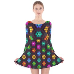 Pattern Background Colorful Design Long Sleeve Velvet Skater Dress