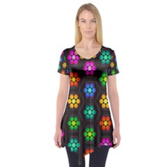 Pattern Background Colorful Design Short Sleeve Tunic