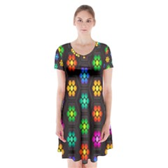Pattern Background Colorful Design Short Sleeve V-neck Flare Dress