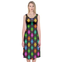 Pattern Background Colorful Design Midi Sleeveless Dress