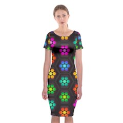 Pattern Background Colorful Design Classic Short Sleeve Midi Dress