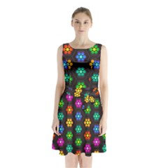 Pattern Background Colorful Design Sleeveless Chiffon Waist Tie Dress