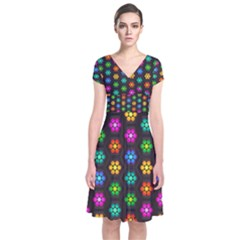 Pattern Background Colorful Design Short Sleeve Front Wrap Dress