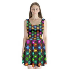 Pattern Background Colorful Design Split Back Mini Dress