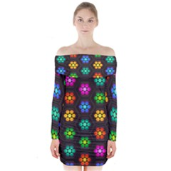Pattern Background Colorful Design Long Sleeve Off Shoulder Dress