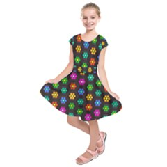 Pattern Background Colorful Design Kids  Short Sleeve Dress